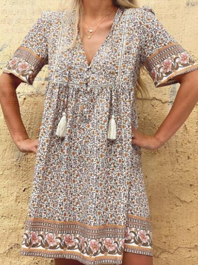 Women's A Line Dress Knee Length Dress Light Brown Short Sleeve Floral Summer V Neck Hot Casual vacation dresses 2021 S M L XL XXL 3XL