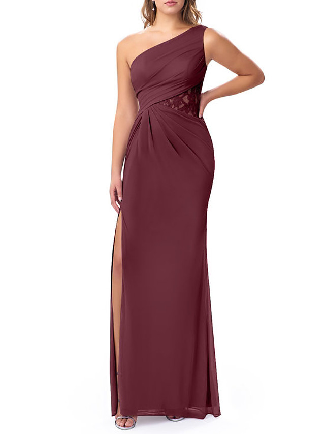 Sheath / Column One Shoulder Floor Length Chiffon Bridesmaid Dress with Split Front / Ruching