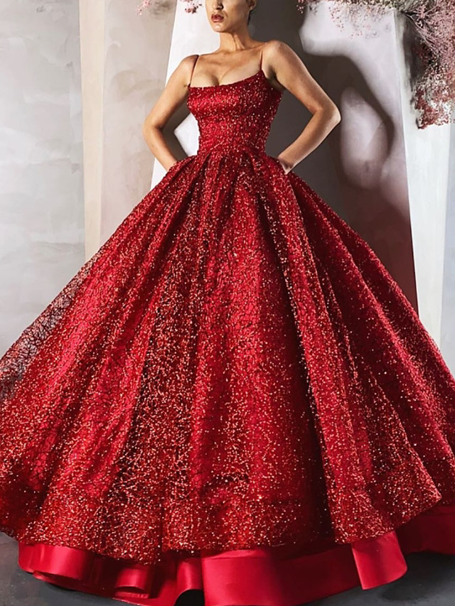 Ball Gown Luxurious Sparkle Engagement Formal Evening Dress Spaghetti Strap Sleeveless Floor Length Satin with Sequin Tier 2020