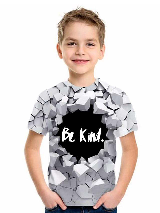 Kids Boys' Basic Geometric Print Short Sleeve Tee White