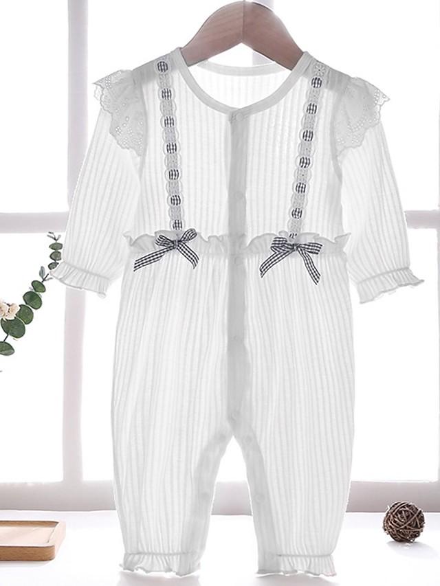 Baby Girls' Basic Striped Long Sleeve Romper White