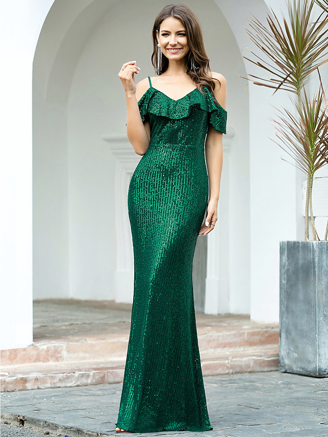 Mermaid / Trumpet Sexy Sparkle Wedding Guest Formal Evening Dress Spaghetti Strap Short Sleeve Floor Length Sequined with Sequin 2020