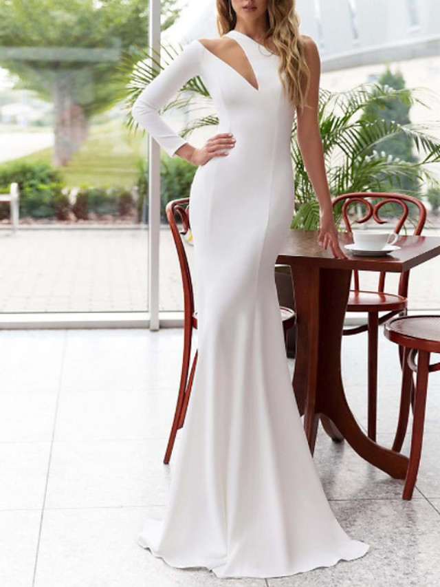 Mermaid / Trumpet Elegant Minimalist Engagement Formal Evening Dress One Shoulder Long Sleeve Sweep / Brush Train Stretch Satin with Sleek 2020