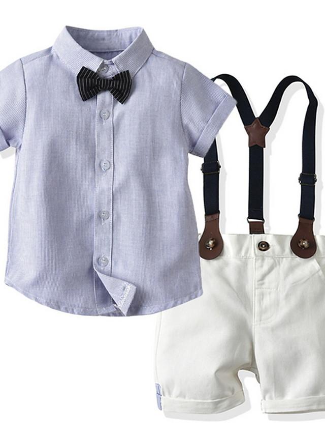 Toddler Boys' Basic Color Block Short Sleeve Clothing Set Light Blue
