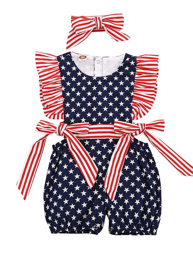 Baby Girls' Basic Flag Sleeveless Romper Navy Blue