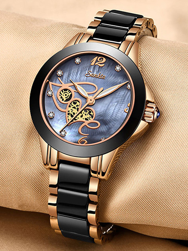 Women's Quartz Watches Quartz Stylish Glitter Casual Water Resistant / Waterproof Stainless Steel Analog - Golden+Black White+Gold White