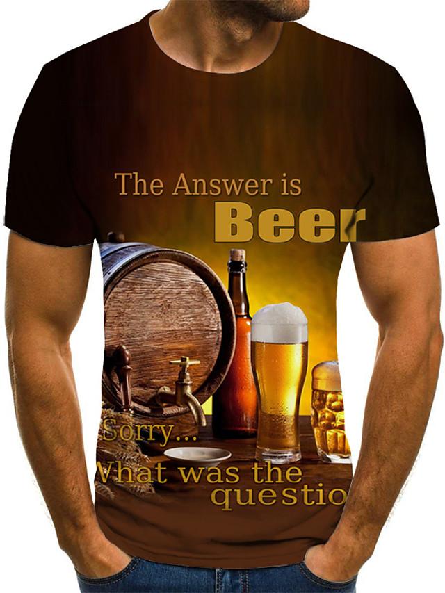 男性用 プラスサイズ Tシャツ グラフィック ビール プリーツ プリント 半袖 トップの ストリートファッション 誇張された ラウンドネック イエロー / 夏