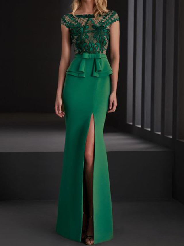Mermaid / Trumpet Elegant Floral Engagement Formal Evening Dress Illusion Neck Short Sleeve Floor Length Spandex Lace with Split Appliques 2020