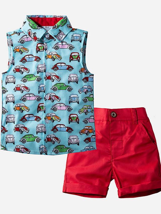 Kids Toddler Boys' Basic Print Sleeveless Clothing Set Blue