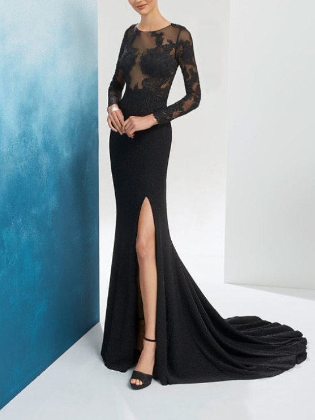 Mermaid / Trumpet Beautiful Back Floral Engagement Formal Evening Dress Illusion Neck Long Sleeve Sweep / Brush Train Chiffon Lace with Split Embroidery 2020
