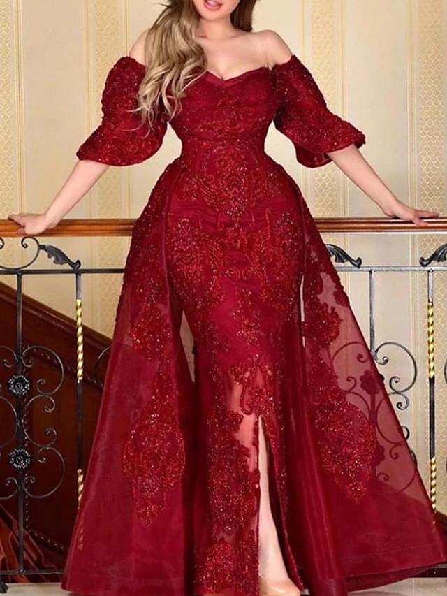 A-Line Elegant Sparkle Engagement Formal Evening Dress Off Shoulder Half Sleeve Floor Length Lace Tulle with Beading Sequin Split 2020