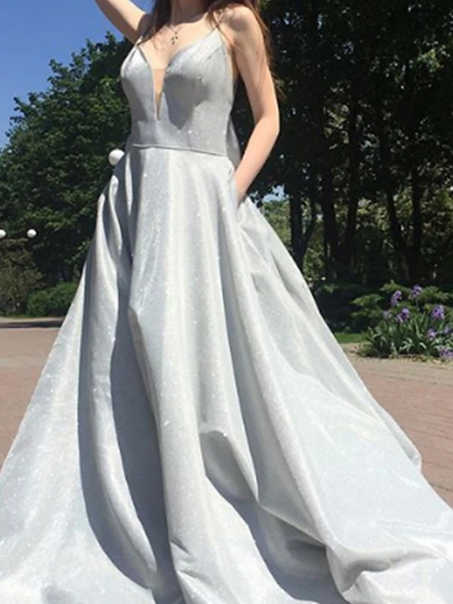 A-Line Glittering Luxurious Engagement Prom Dress V Neck Sleeveless Sweep / Brush Train Satin with Bow(s) 2020