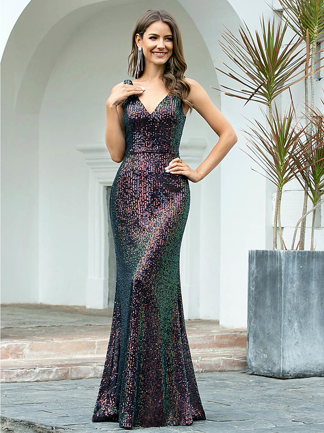 Mermaid / Trumpet Sexy Sparkle Wedding Guest Formal Evening Dress V Neck Sleeveless Floor Length Sequined with Sequin 2020