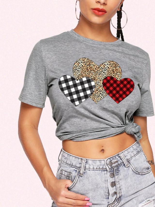 Women's T-shirt Leopard Round Neck Tops Basic Top Gray