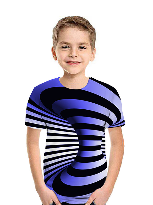 Kids Boys' Active Street chic Geometric 3D Patchwork Print Short Sleeve Tee Black