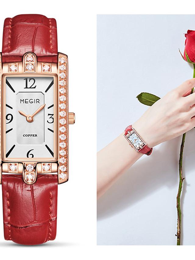 MEGIR Women's Quartz Watches Quartz Stylish Fashion Water Resistant / Waterproof Crystal Genuine Leather Black / White / Red Analog - White Black Red One Year Battery Life / Swiss / Swiss