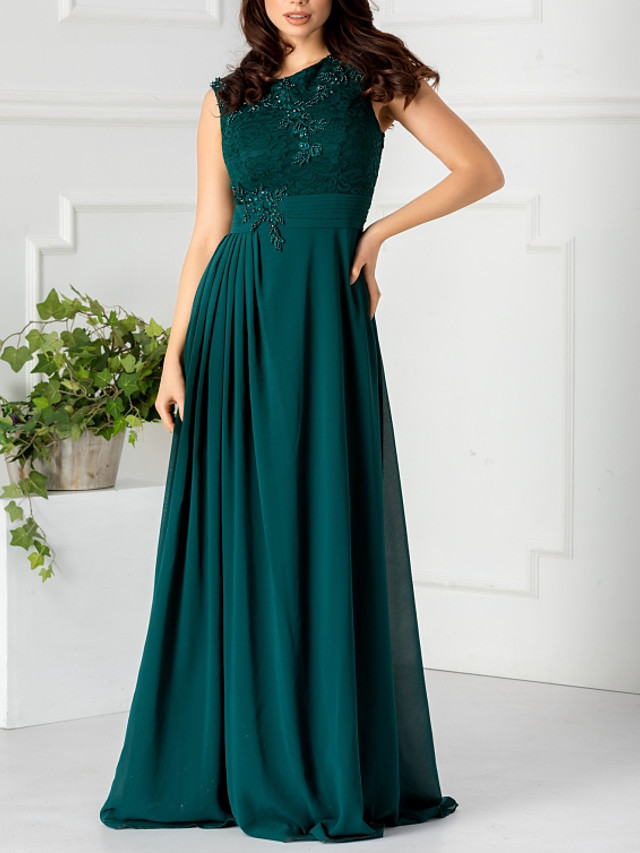 A-Line Elegant Floral Engagement Formal Evening Dress Jewel Neck Sleeveless Floor Length Chiffon with Pleats Appliques 2020