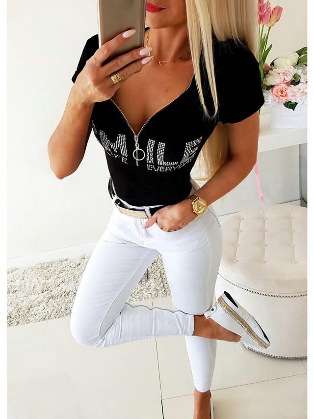 Women's Blouse Letter Zipper V Neck Tops Basic Basic Top Black
