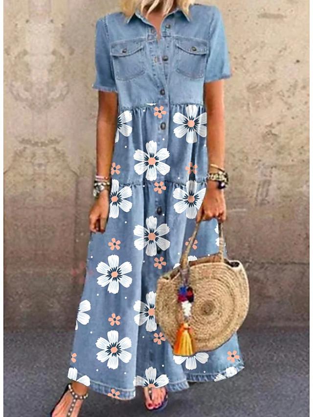 Women's Denim Shirt Dress Maxi long Dress Blue Short Sleeve Floral Pocket Button Summer Shirt Collar Chic & Modern Casual 2021 M L XL XXL 3XL
