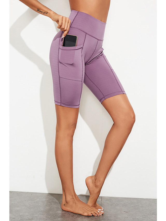 Women's Sports Yoga Sporty Basic Legging Solid Colored Sporty Stripe High Waist Black Purple S M L