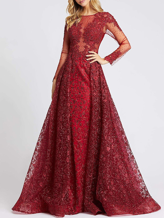 A-Line Elegant Luxurious Engagement Formal Evening Dress Jewel Neck Long Sleeve Court Train Lace with Crystals Appliques 2020