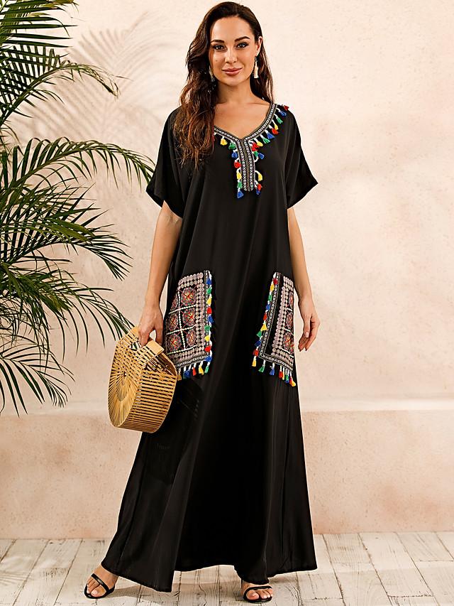 Women's Plus Size Kaftan Dress Maxi long Dress - Short Sleeve Print Summer V Neck Casual Boho Daily Loose 2020 Black S M L XL XXL XXXL XXXXL XXXXXL