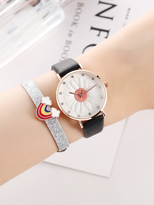 Women's Quartz Watches Quartz Stylish Floral Style New Arrival Chronograph PU Leather Black Analog - Black