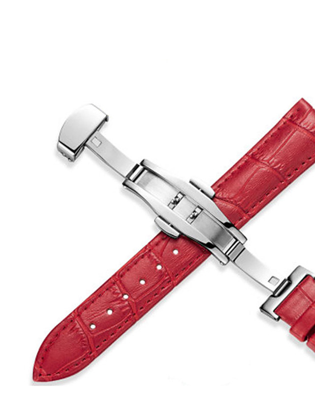 Genuine Leather / Leather Watch Band Black / White / Red 20cm / 7.9 Inches 1.2cm / 0.47 Inches / 1.4cm / 0.55 Inches / 1.6cm / 0.6 Inches