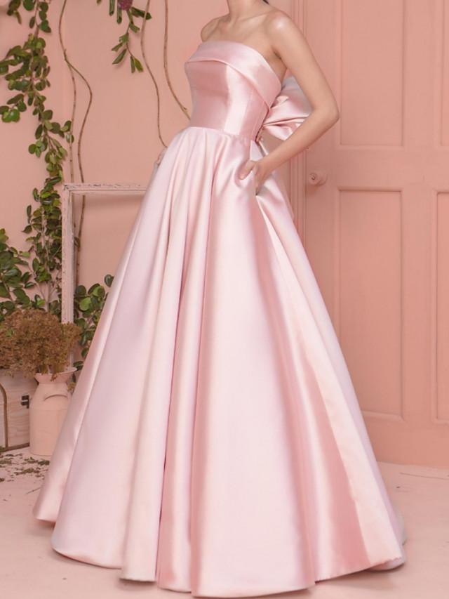 A-Line Elegant Minimalist Engagement Prom Dress Strapless Sleeveless Floor Length Satin with Pleats 2020