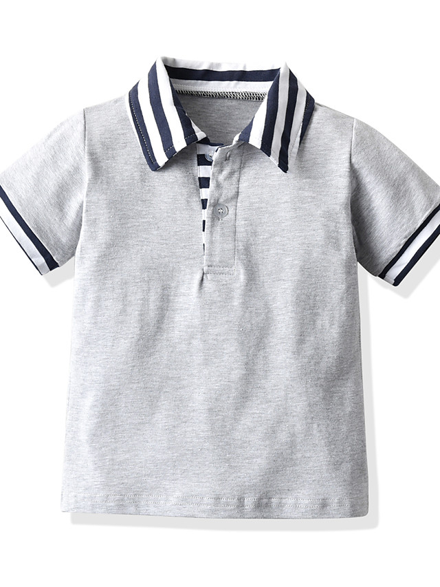 Toddler Boys' Basic Solid Colored Short Sleeve Blouse Gray