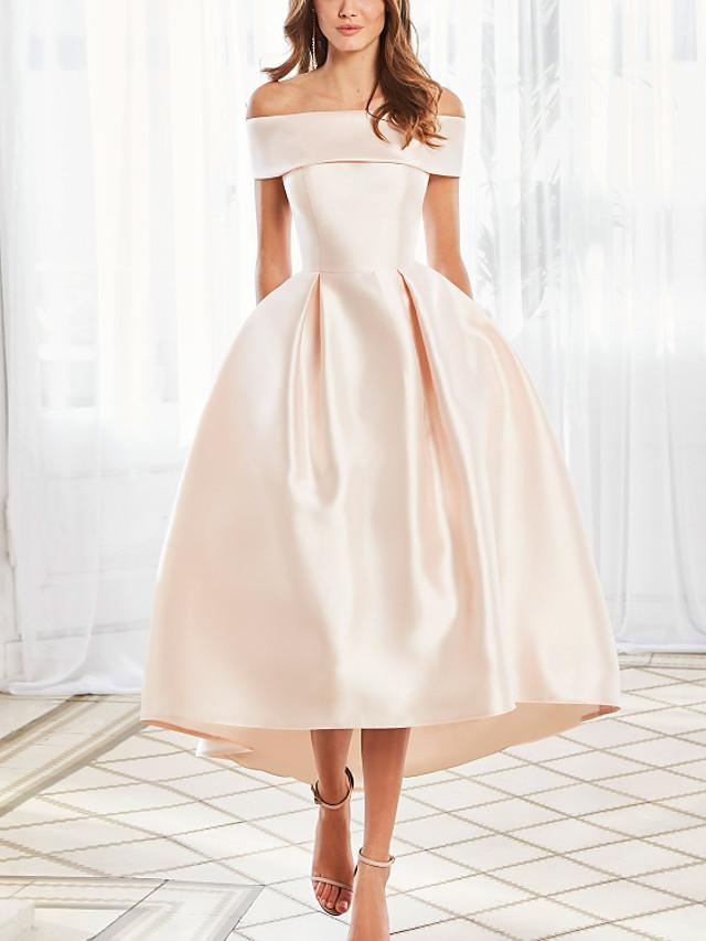 Ball Gown Elegant Vintage Engagement Prom Dress Off Shoulder Short Sleeve Ankle Length Satin with Sleek 2020