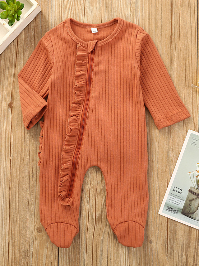 Baby Girls' Active Basic Solid Colored Long Sleeve Romper Orange