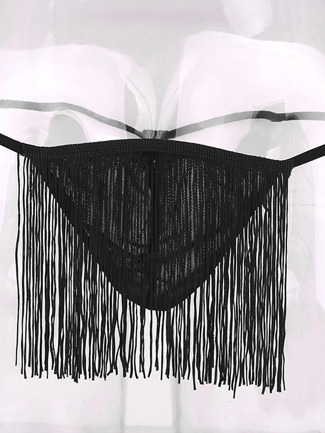 Men's Tassel Fringe G-string Underwear - Normal Low Waist White Black Red One-Size