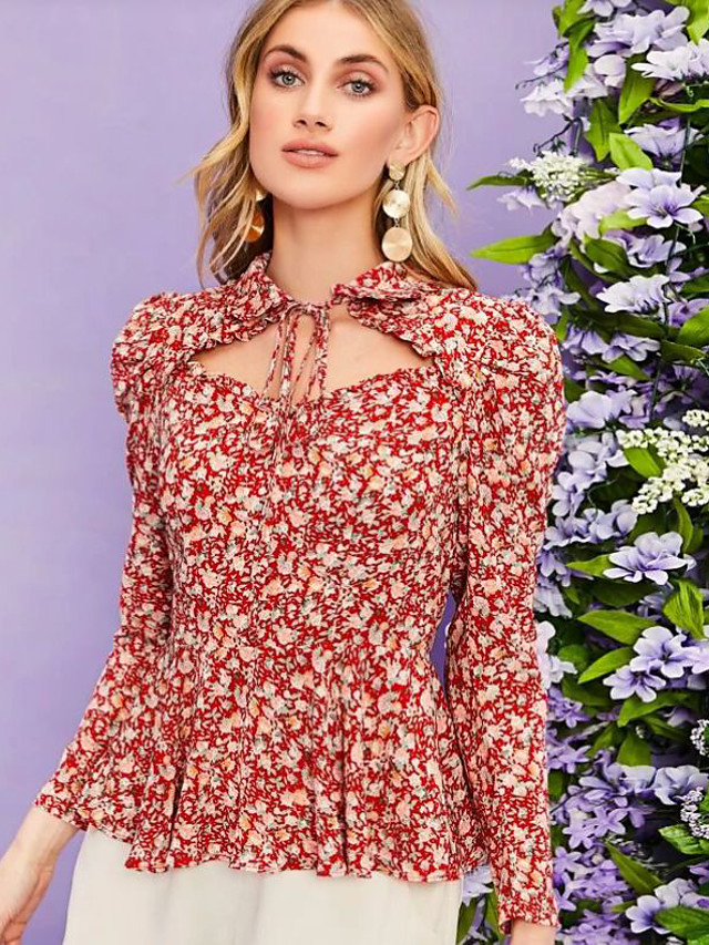 Women's Blouse Floral Lace up Print Shirt Collar Tops Elegant Hawaiian Summer Fall Red / Going out