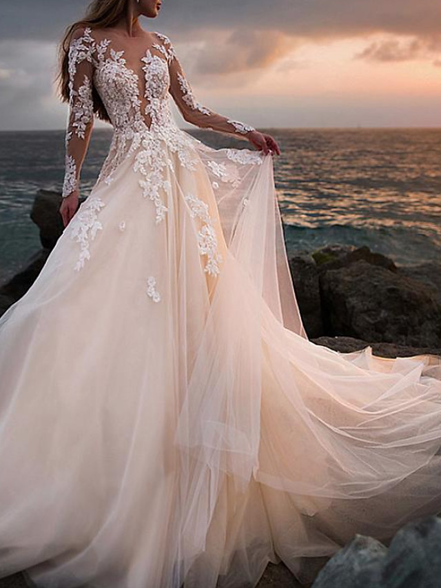 A-Line Wedding Dresses Jewel Neck Court Train Lace Tulle Long Sleeve Beach Sexy See-Through with Embroidery Appliques 2021