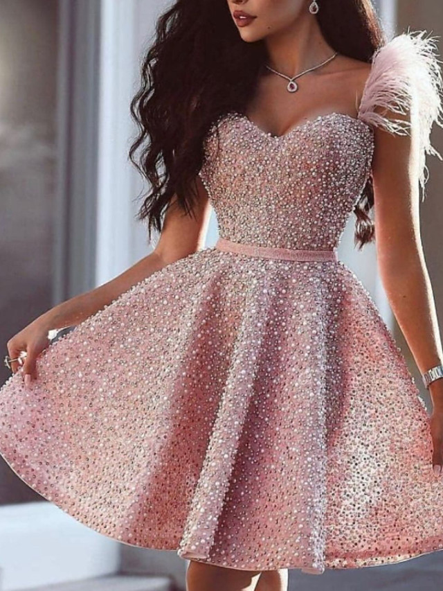 A-Line Glittering Luxurious Homecoming Cocktail Party Valentine's Day Dress Sweetheart Neckline Sleeveless Short / Mini Satin with Beading 2021