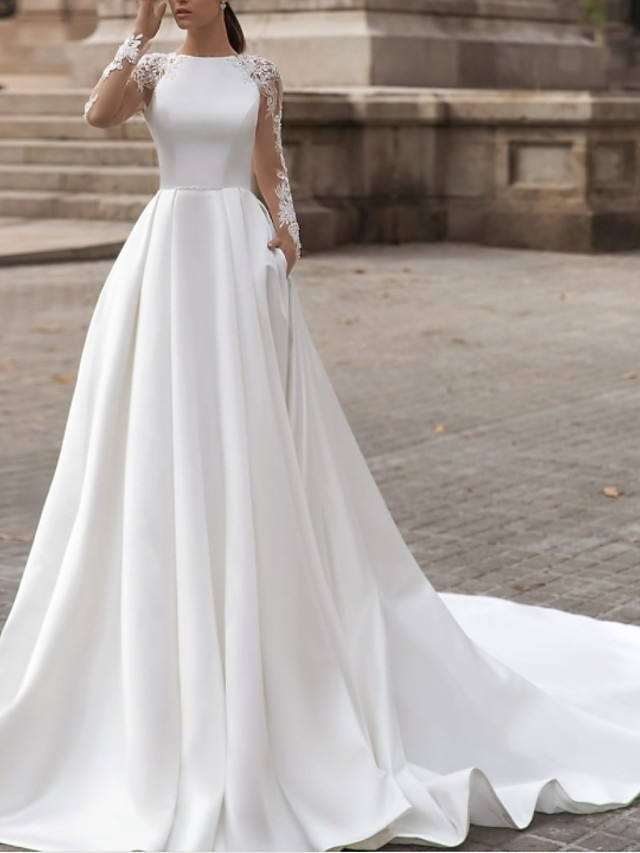 A-Line Wedding Dresses Jewel Neck Sweep / Brush Train Lace Satin Long Sleeve Simple Sexy See-Through with Pleats 2020