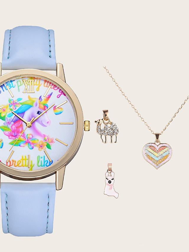 Kids Quartz Watches Quartz Stylish Animal Pattern Casual Chronograph PU Leather Sky Blue Analog - Sky Blue