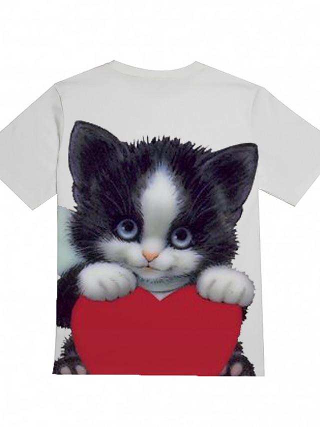 Kids Boys' Basic Cat Animal Print Short Sleeve Tee White
