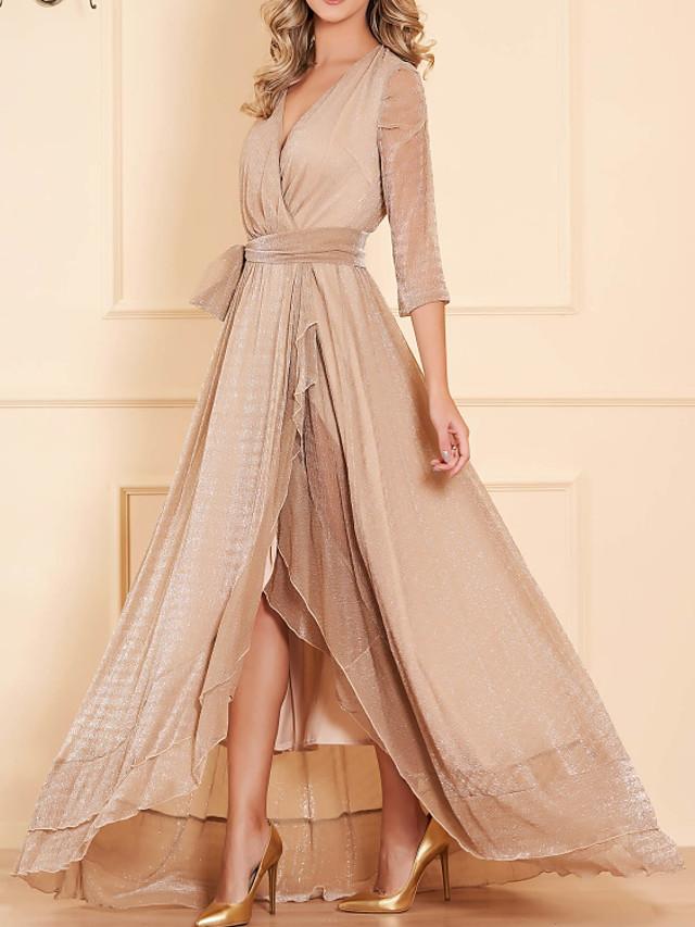 Sheath / Column Elegant Sparkle Engagement Formal Evening Dress V Neck 3/4 Length Sleeve Asymmetrical Satin with Sash / Ribbon 2020