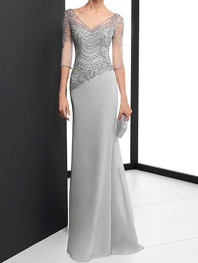 Sheath / Column Elegant Beautiful Back Engagement Formal Evening Dress V Neck Half Sleeve Sweep / Brush Train Chiffon with Embroidery 2020 / Illusion Sleeve
