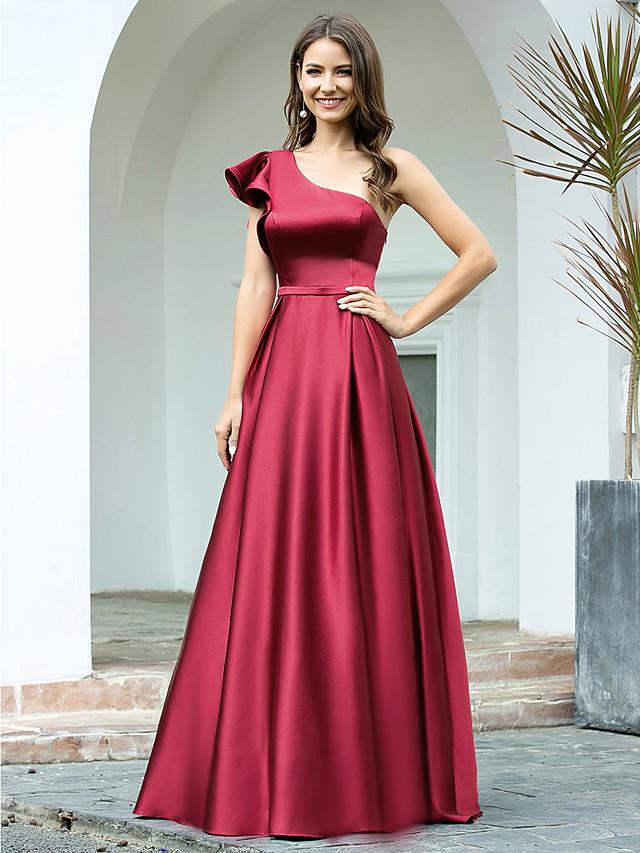 A-Line Elegant Vintage Engagement Formal Evening Dress One Shoulder Sleeveless Floor Length Satin with Sleek 2020