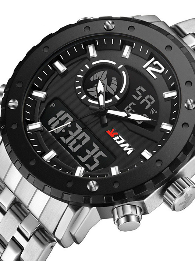 KADEMAN Men's Sport Watch Quartz Modern Style Stylish Casual Water Resistant / Waterproof Stainless Steel Analog - Digital - Black / Silver White+Silver Black / Calendar / date / day / Noctilucent