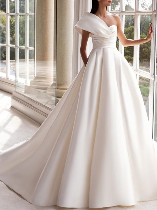 A-Line Wedding Dresses One Shoulder Sweep / Brush Train Satin Short Sleeve Simple with Ruched 2020
