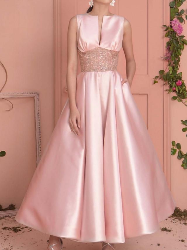A-Line Elegant Minimalist Wedding Guest Prom Dress Jewel Neck Sleeveless Ankle Length Satin with Sash / Ribbon Pleats 2020