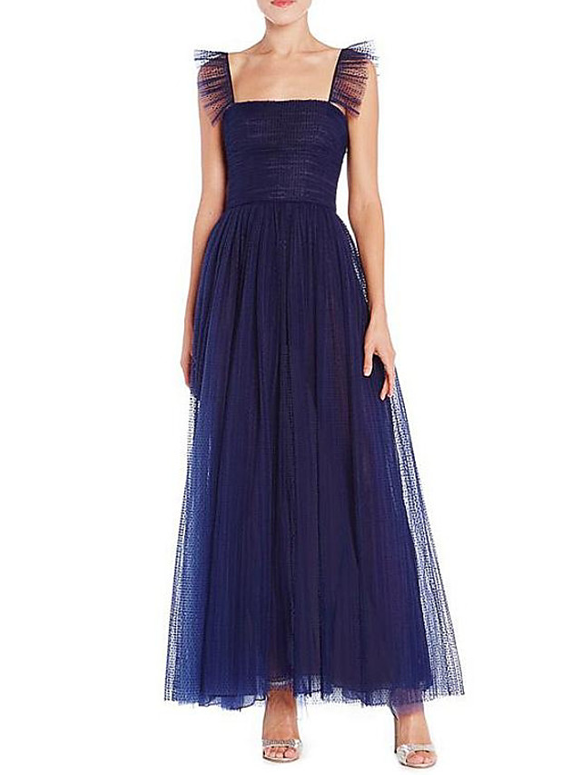 A-Line Elegant Beautiful Back Wedding Guest Formal Evening Dress Scoop Neck Sleeveless Ankle Length Chiffon with Pleats 2020