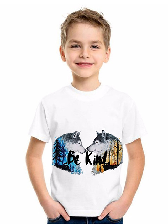 Kids Boys' Basic Animal Print Short Sleeve Tee White