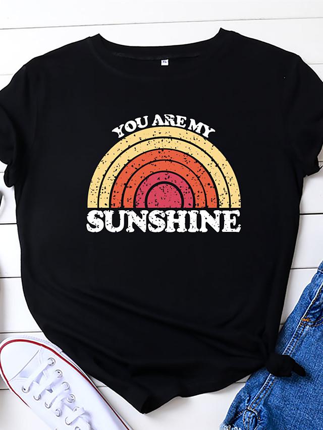Women's T-shirt Rainbow Letter Print Round Neck Tops Loose 100% Cotton Basic Basic Top Black Wine Royal Blue