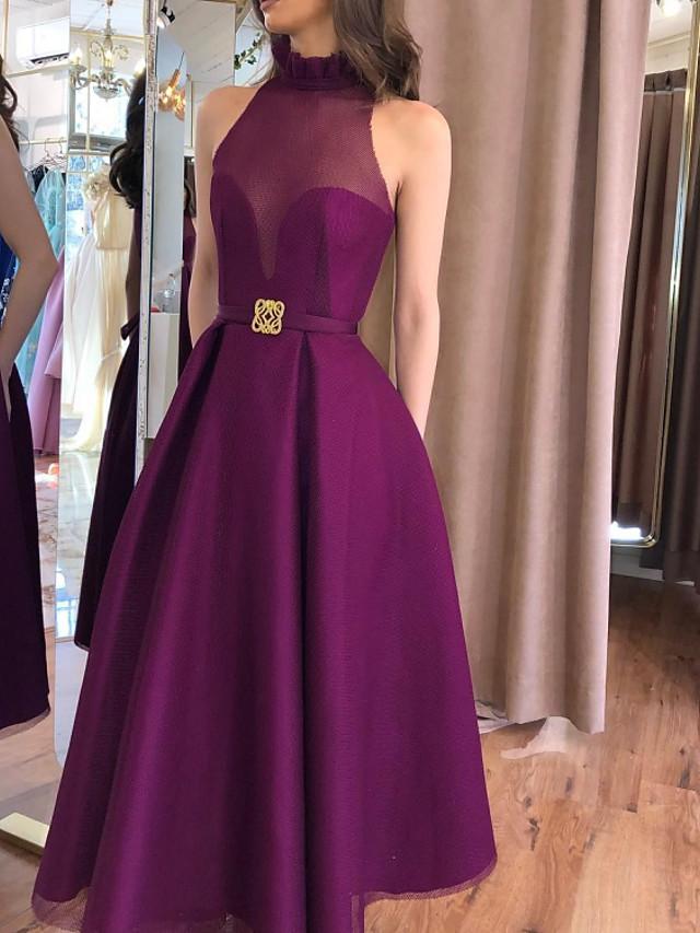 A-Line Elegant Minimalist Engagement Formal Evening Dress High Neck Sleeveless Floor Length Satin with Sash / Ribbon Pleats 2020