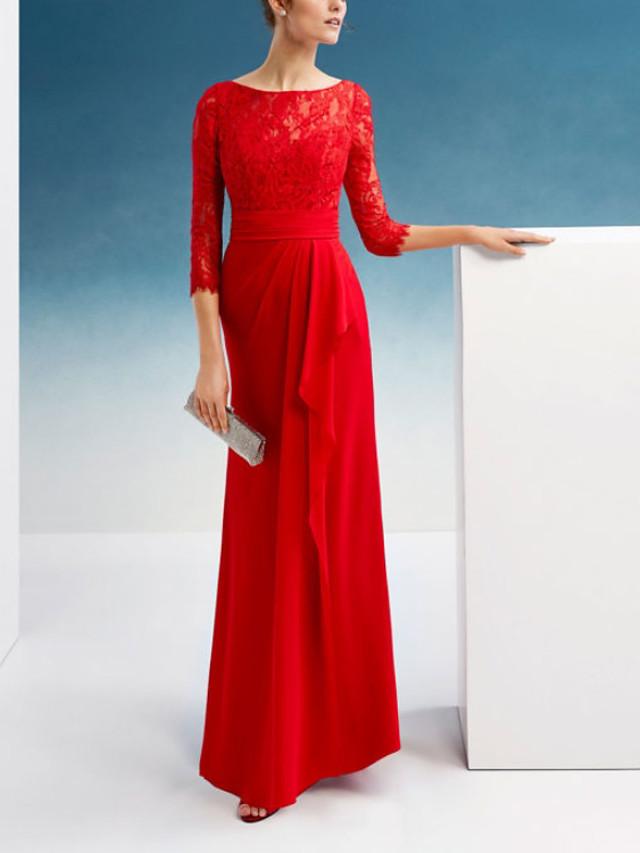 Sheath / Column Elegant Beautiful Back Engagement Formal Evening Dress Jewel Neck 3/4 Length Sleeve Floor Length Chiffon Lace with Embroidery 2020